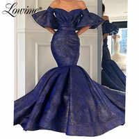 Navy Blue Mermaid Evening Dresses 2019 Dubai Off The Shoulder Evening Gowns Party Dress Arabic Long Prom Dresses Vestidos Custom