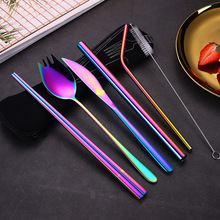 Rainbow Dinnerware Set 6pcs Portable Cutlery Metal Straw with Cleaner Brush Stainless Steel Colored  Travel Tableware