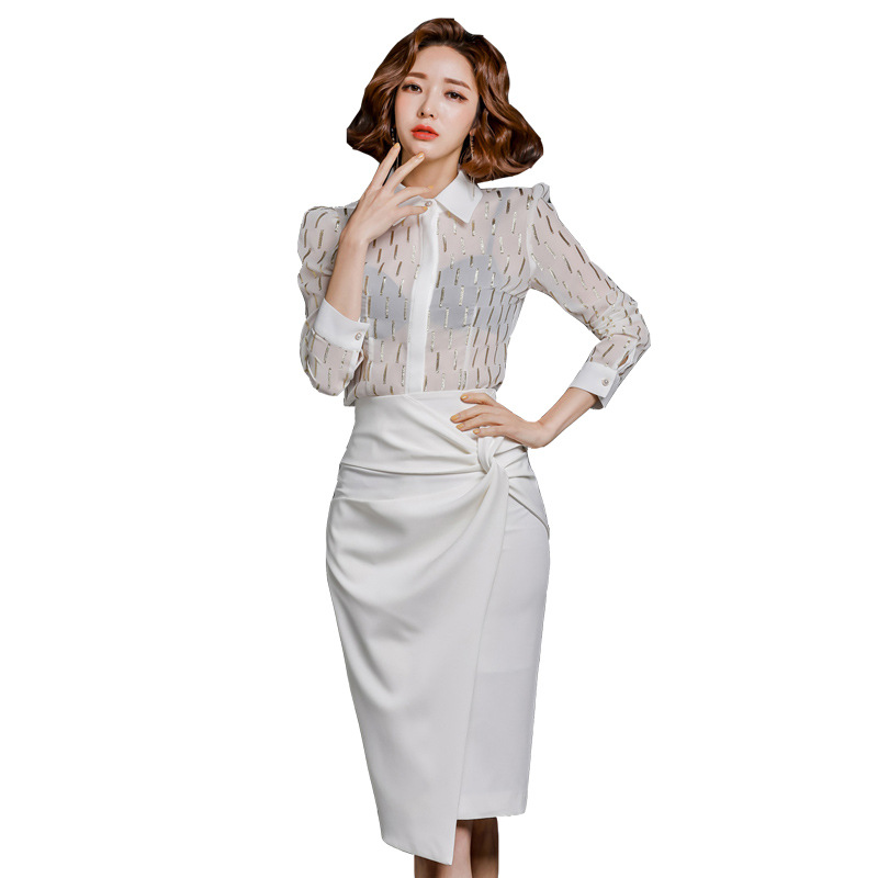2020 Spring Clothing New Products Ol Career Elegant Single Breasted Bronze Shirt High-waisted Irregular Skirt Two-Piece Women's