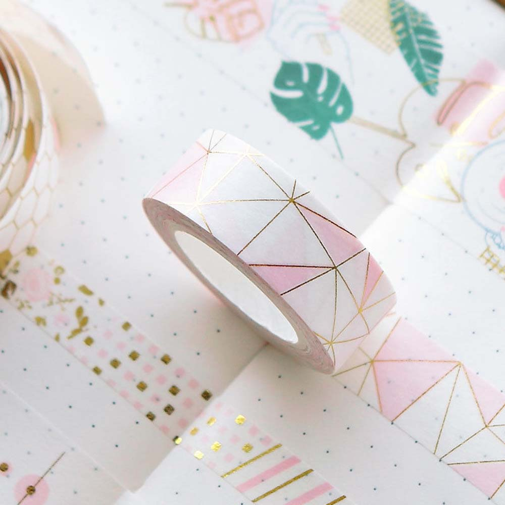 1PCS Pink Foil Paper Washi Tape Kawaii Stationery Scrapbooking Decorative Tapes