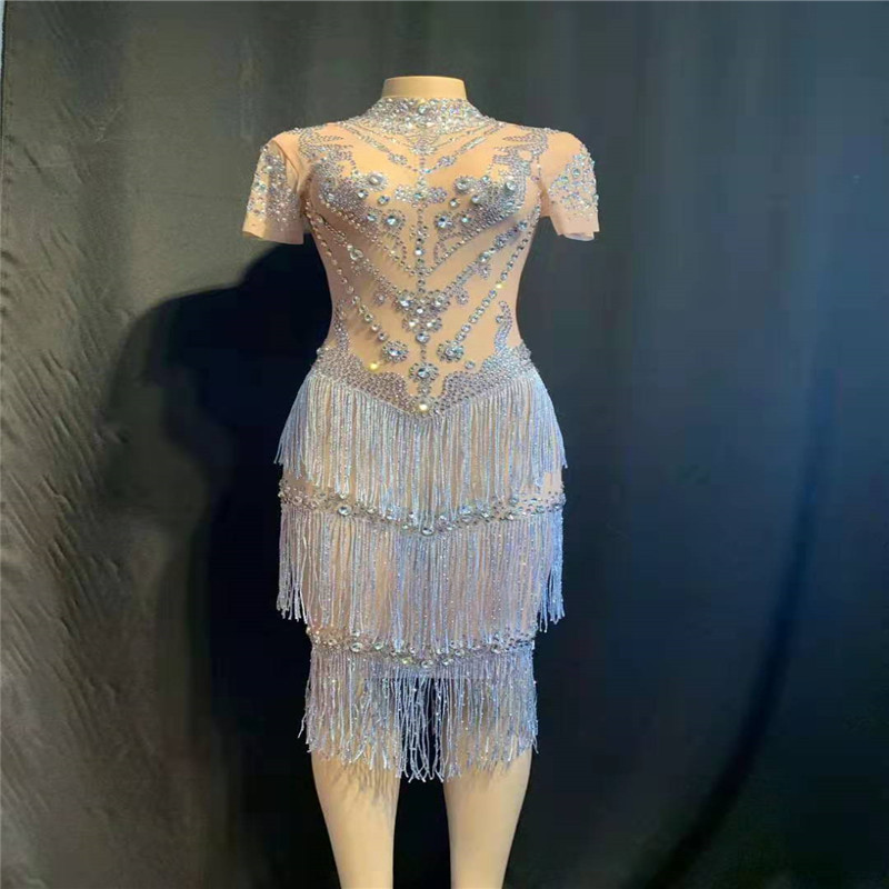 A14 Singer Mesh Tassels Skinny Hip Skirt Pole Dance Perspective Female Rhinestone Dress Dj Costume Ballroom Wears Party Perform