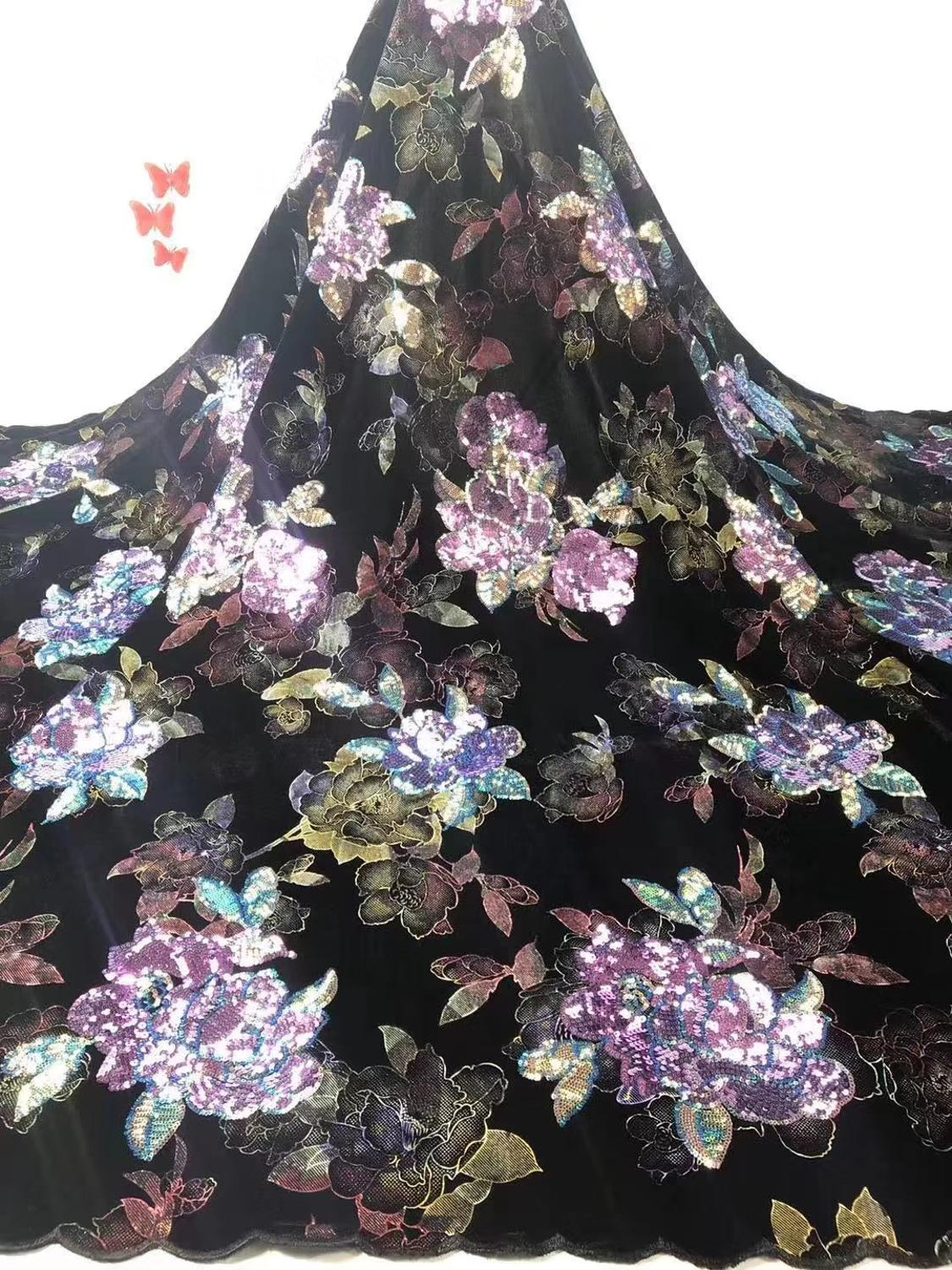 good quality nigerian sequins lace fabric 5yards mesh lace fabric in flowers pattern design  for wedding or party  JIAJIAAP171