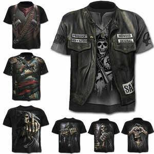 Повседневная футболка с коротким рукавом и принтом черепа, Классическая футболка в стиле панк с 3D принтом, забавная Летняя мужская футболка
