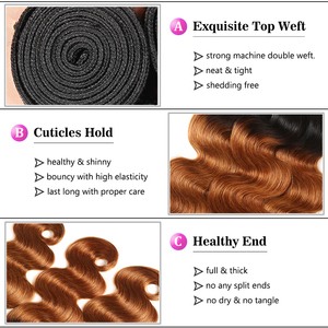 Image 3 - 1/3/4Pcs Ombre Bundles 1B/30 Remy Body Wave Bundles Brazilian Hair Weave Bundles Colored Brown Human Hair Extensions Racily Hair