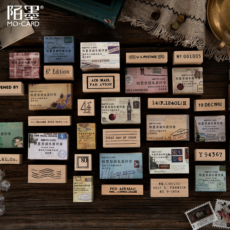 Vintage Post Office Series Digital Mini Stamp DIY Wooden Rubber Stamps For Scrapbooking Stationery Scrapbooking Standard Stamp