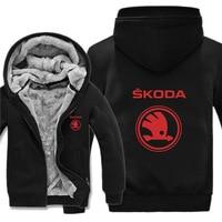 Skoda Hoodies Jacket Winter Thicken Men women Unisex Casual Wool Fleece Hoody Coat car logo print Sweatshirts Pullover clothes