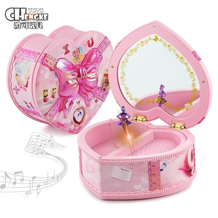 Music Box Children Rotating Jewelry Music Box Spring Light Music Box GIRL'S Play House Toys