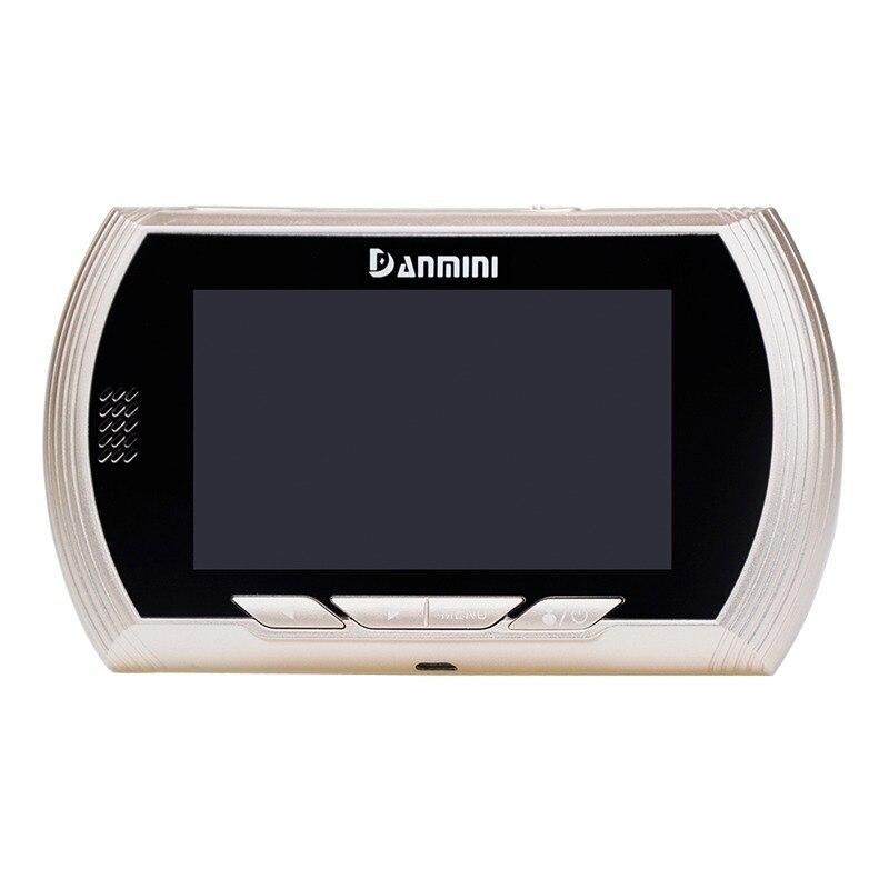 Купить с кэшбэком DANMINI Golden Door Viewer Camera 4.3 Inch TFT LCD Screen Peephole Viewer Night Vision Digital Doorbell Video Recorder(Golden)