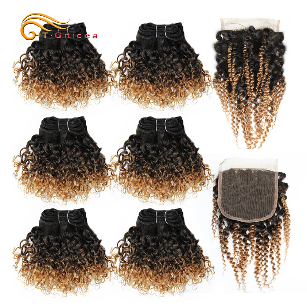 Curly Bundles With Closure Jerry Curl Brazilian Hair Bundles And Closure 1B 27 30 99J Short Double Drawn Human Hair With Closure