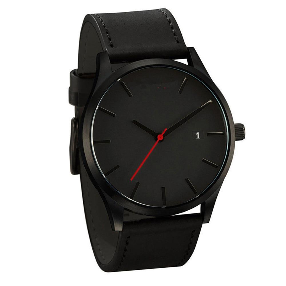 Couple watch calendar minimalist dial fashion leather strap casual quartz round wrist business men hot watch часы мужские  03