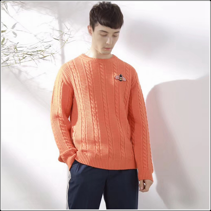 Men Winter Orange O Neck Wool Sweater Plus Big Size Casual Fashion Bee Embroidery Brand Sweatercoat Thick Pullovers Korean Style