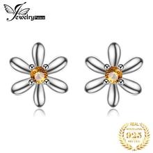 JPalace Flower Created Orange Sapphire Stud Earrings 925 Sterling Silver For Women Korean Earings Fashion Jewelry 2019