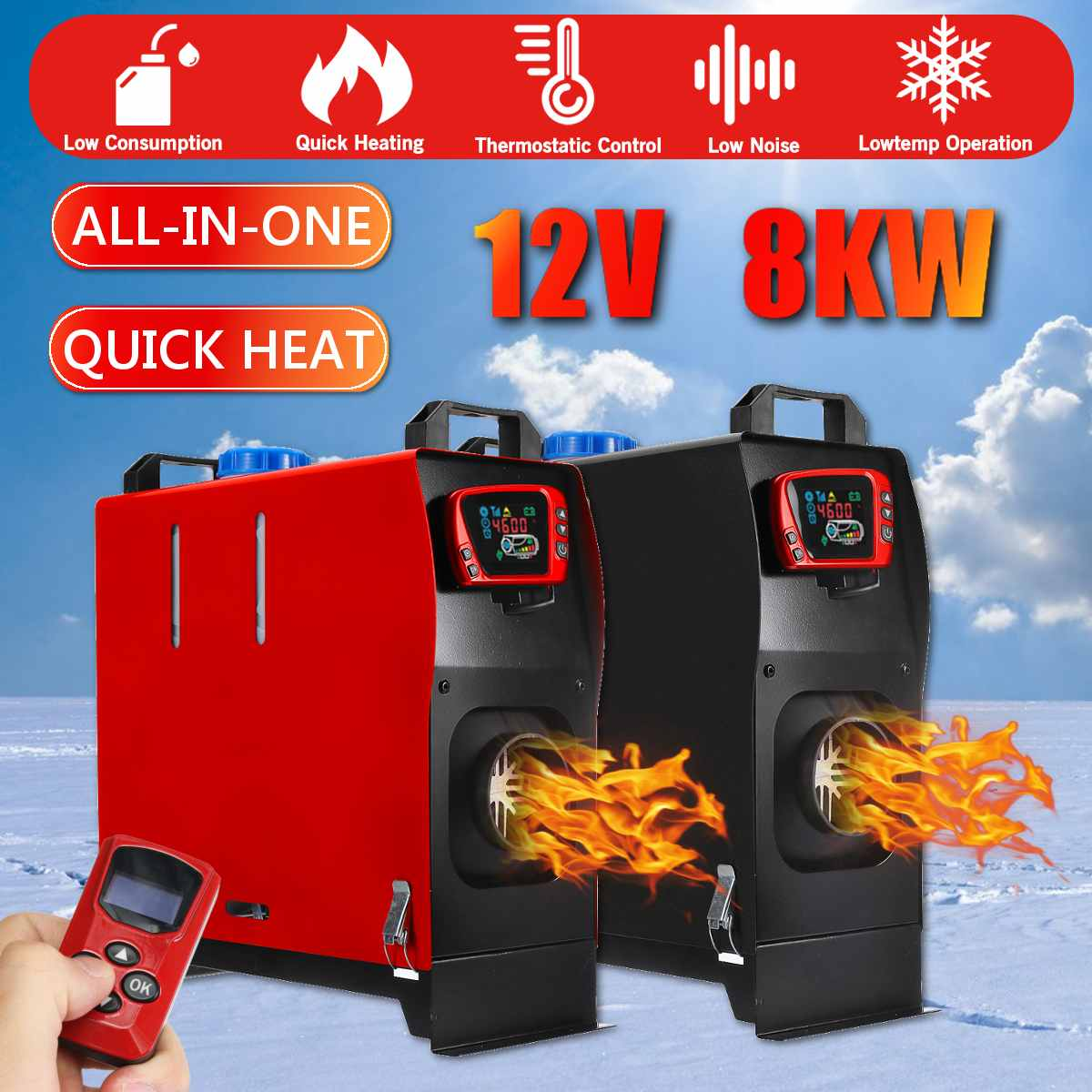 Car Heating 8000W All In One Unit Tool Diesels Air Heater Single Hole LCD Monitor Parking Warmer Quick Heat