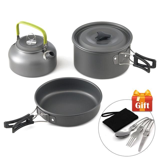 Ultra-light Aluminum Alloy Camping Cookware Utensils Outdoor Cooking Teapot Picnic Tableware Kettle Pot Frying Pan 3pcs/Set 1