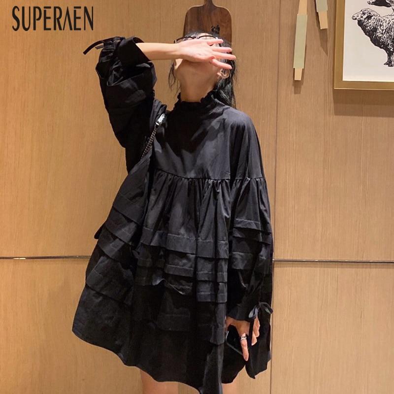 SuperAen Sweet Puff Sleeve Women Dress New 2019 Autumn Cotton Casual Ladies Dress Long Sleeve Fashion Women Clothing