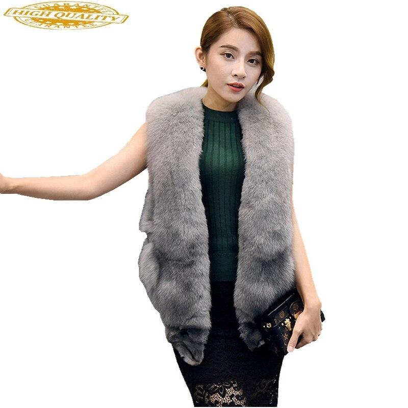100% Natural Fox Fur Vest Luxury Women's Vest Waistcoat Real Fur Coat Female Jacket Winter Sleeveless Outerwear WYQ830