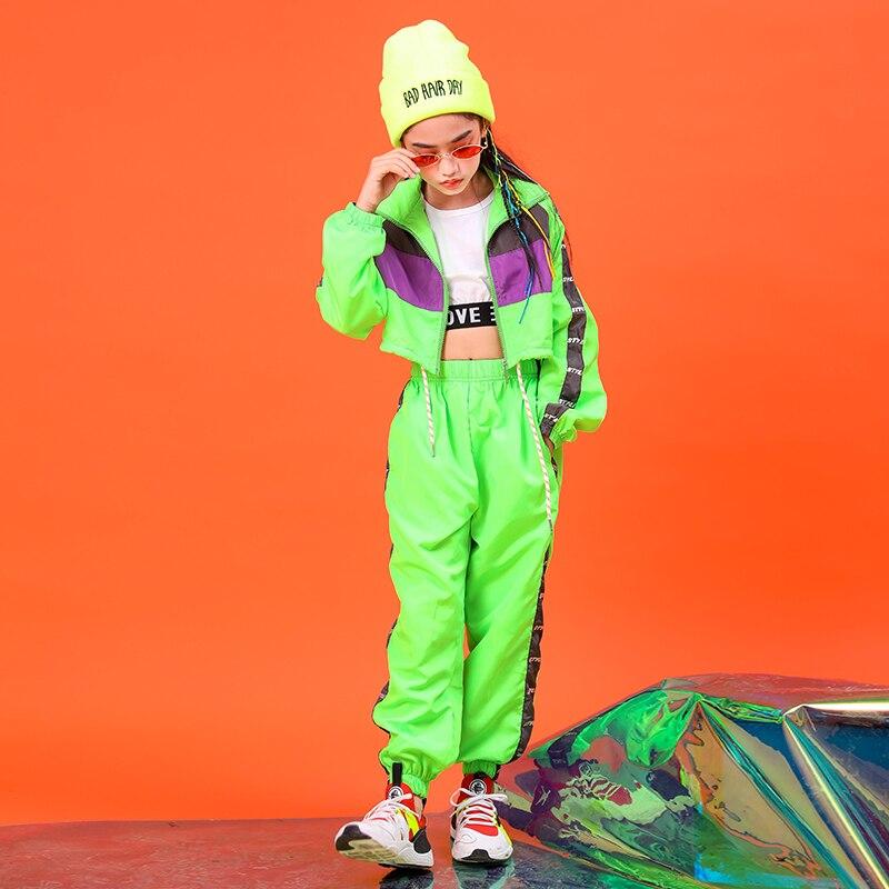 Children Kids Green Hip Hop Clothing Sweatshirt Short Jacket Top Crop Coat Jogger Casual Pants For Girl Jazz Dance Costume Wear