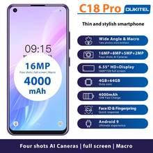 Oukitel c18 pro 4g smartphone 4gb 64gb android 9.0 4 câmeras traseiras telefone móvel 4000mah octa núcleo face id telefone