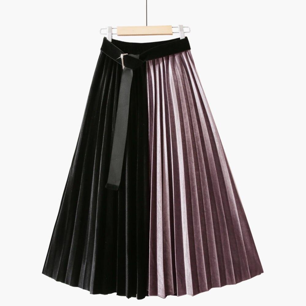 Velvet Pleated Midi Skirt Women Autumn Winter 2020 Ladies Korean Black Patchwork High Waist Skirt Female With Belt