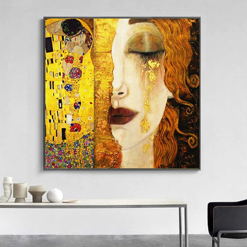 SELFLESSLY Art Gustav Klimt Golden Tears And Kiss Canvas Paintings Wall Art Printed Pictures Famous Painting Classical Art Decor