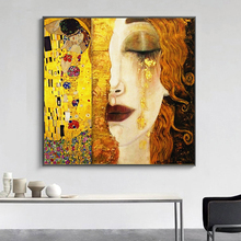 SELFLESSLY Art Gustav Klimt Golden Tears And Kiss Canvas Paintings Wall Printed Pictures Famous Painting Classical Decor