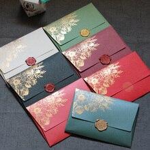 40 Stks/partij Nieuwe Hoogwaardige Parel Papier Enveloppen 125mmX175mm Europese Bronzing Patroon Envelop Tas