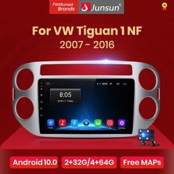 Junsun V1 Android 10.0 AI Voice Control Car Radio Multimedia For Volkswagen Tiguan 1 NF 2006 2008 2010 2012-2016 Navigation GPS