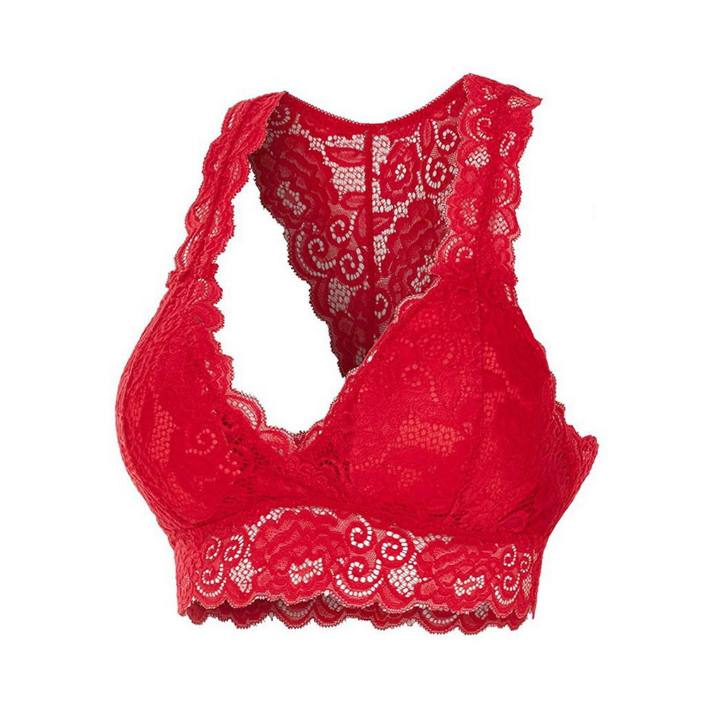 New Solid Color Lace Intimates Underwear Sexy Vest Female Add Pad Transparent Wireless Bra Seamless Lingerie Tops