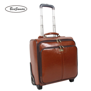Image 5 - BeaSumore мужской деловой багаж из натуральной кожи, 20/24 дюйма, ретро чемоданы на колесах из воловьей кожи, 16 дюймовая тележка с паролем для салона