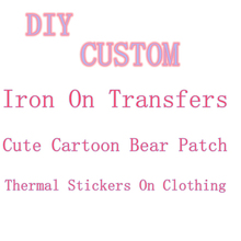 thermo stickers custom iron on transfers for clothing brand logo patch cute cartoon bear iron-on transfers adhesive parch stripe
