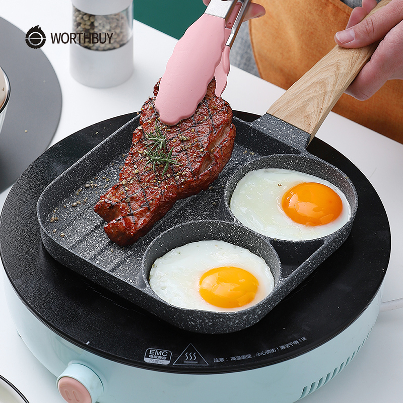 WORTHBUY Omelet Saucepan Multifunctional Frying Pan With Four Hole Non Stick For Breakfast Maker Steak Egg Pancake Pan Cookware