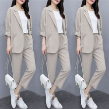 Two piece 2021 new small suit jacket large size Korean version of loose slim casual suit suit women