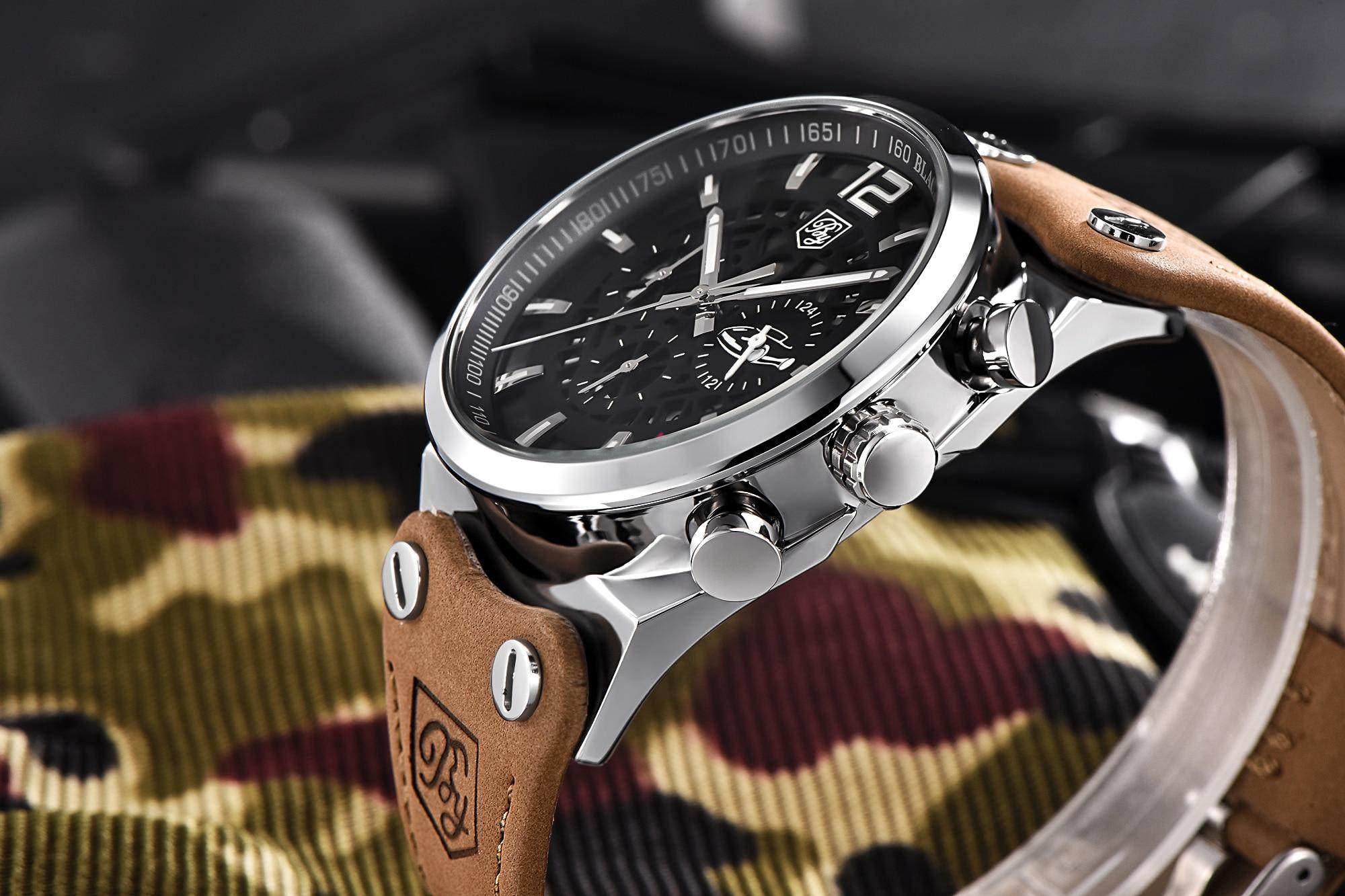 BENYAR Big Dial Sport Watch Men Waterproof Outdoor Military Chronograph Quartz Leather Watch Army Male Clock Relogio Masculino 4