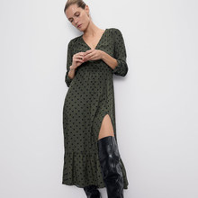 2019 ZA Fashion Vintage Dot Dress Women Clothing Trendy Casual V-Neck Slit Sexy Party Club Dress Female Clothing Wholesale(China)