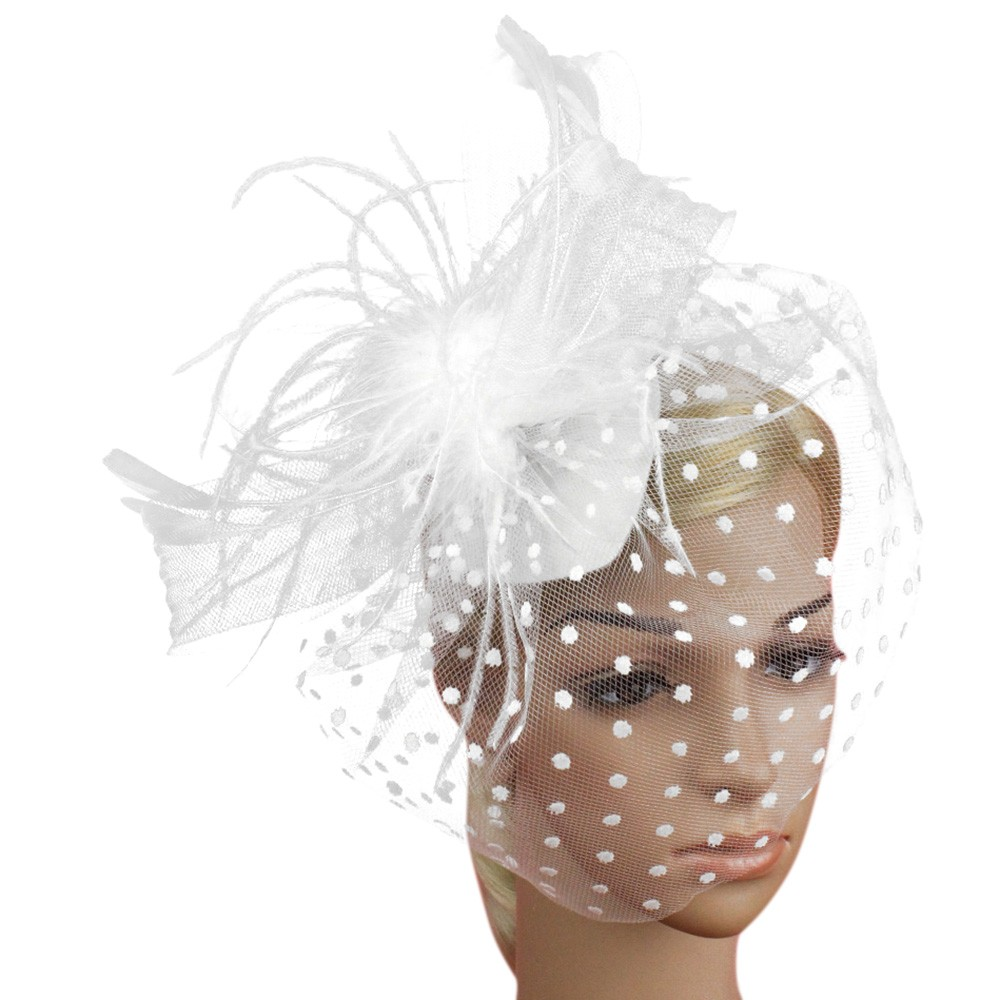 Wedding Hats For Women Elegant Bridal Accessories Fashion Fascinator Penny Ribbons Feathers Party Mesh Hat Chapeau Mariage