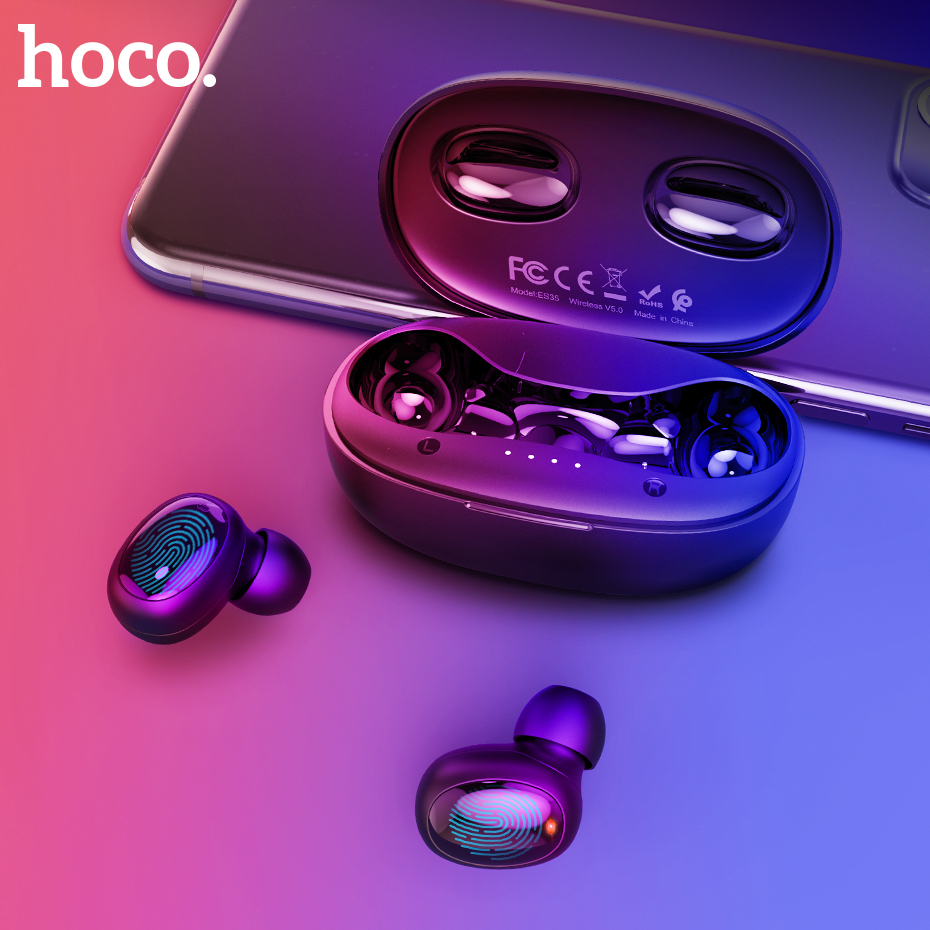 HOCO TWS True Touch Bluetooth Earphones HD Stereo Wireless Headphones Noise Cancelling Gaming Sport Headset 500mAh Charging Box