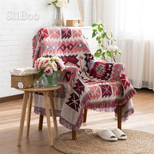 Algodón rojo/poliéster funda de sofá toalla americana clásica de punto sofá/silla manta duplex antideslizante vintage sofacover SP2190