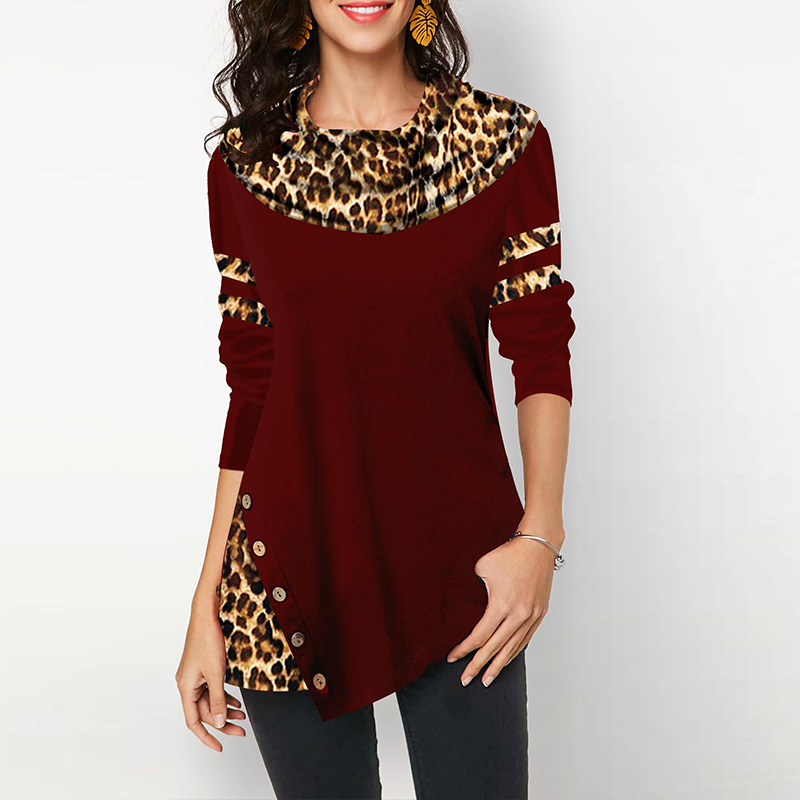 Cotton Leopard Print Top Women's Blouses Shirts Casual Plus Size 2020 Spring Female Tunic Irregular Button Womens Tops Blouses