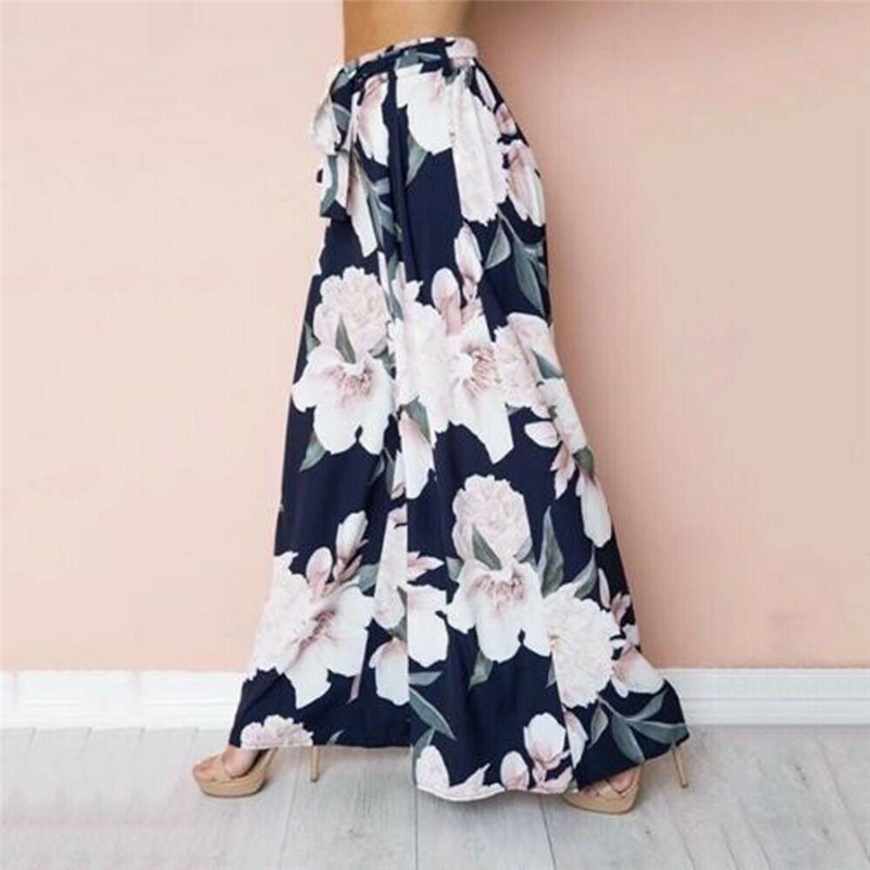 Summer Sweet Holiday Vacation Lady Women Floral Casual Loose Fashion Beach Boho Harem Wide Leg Long Pants Palazzo Trousers New