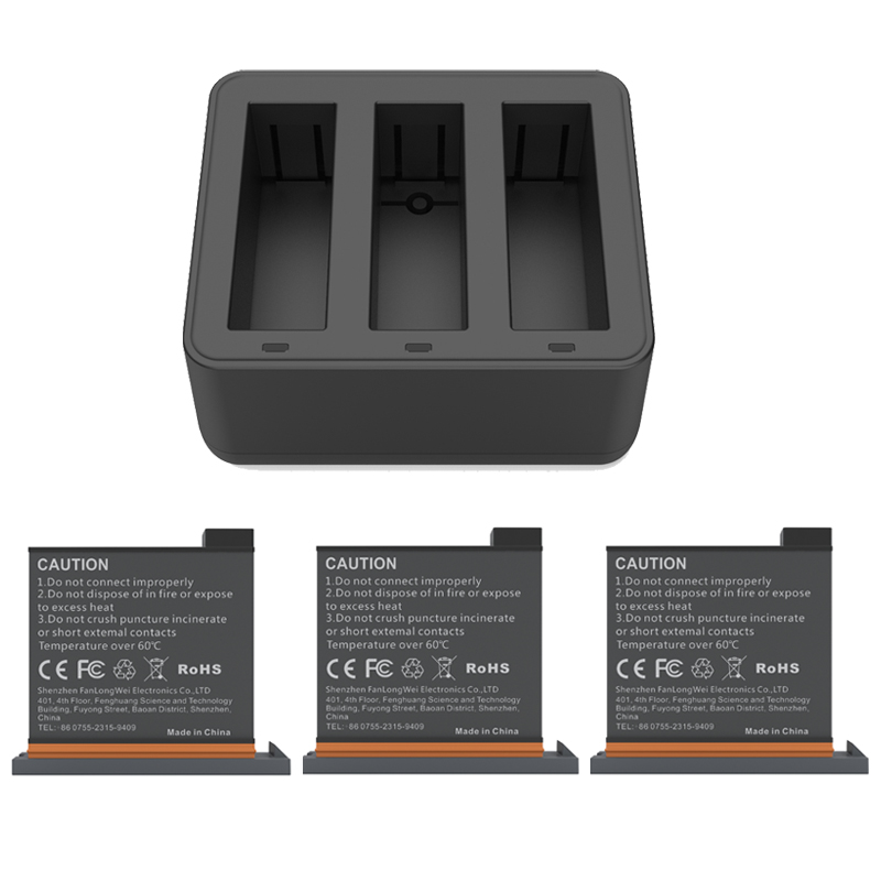 New DJI Osmo Action Charging Kit 3pes Battery+battery Charger Hub For DJI Osmo Action Sports Camera Accessories