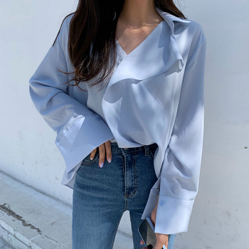 [EWQ] 2021 Spring Women Fashion Casual Solid Color Blouse Single Breasted Blue White Cross Split Sunscreen Loose Shirt 8P107 1