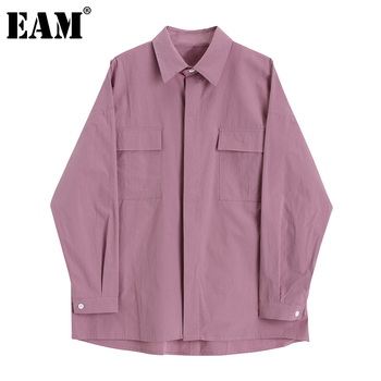 [EAM] Women Brief Pocket Big Size Long Blouse New Lapel Long Sleeve Loose Fit Shirt Fashion Tide Spring Autumn 2020 1DA204