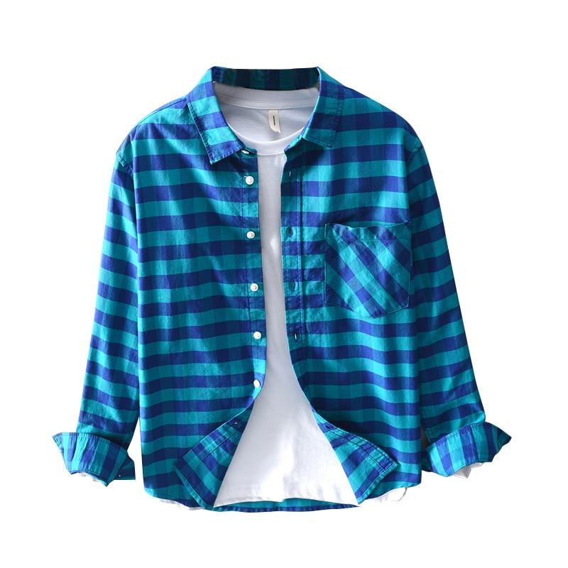 2019 décontracté oxford plaid chemise automne à manches longues marque chemises hommes plaid vert chemise pour hommes confortable mode chemises