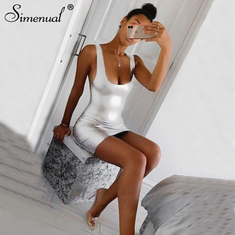 Simenual Hot Sexy Silver Women Party Dress Sleeveless Fashion 2020 Skinny Clubwear Solid Backless Bodycon Mini Dresses Summer