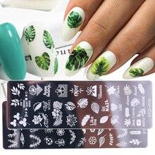 1 pçs 12x4cm placas de carimbo de unhas folha flores borboleta gato unha arte selo modelos estênceis design polonês manicure TRSTZN01 12