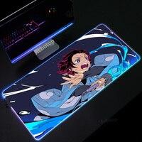 Anime demonio asesino alfombrilla de ratón para juegos RGB LED jugador Mat almohadilla para teclado de ordenador de mesa Kamado Nezuko Locrkand alfombra