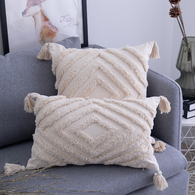 Tassels Cushion Cover 45x 45cm/30x50cm Beige Pillow Cover  Handmade Square Home Decoration for living Room Bed Room Zip Open 2
