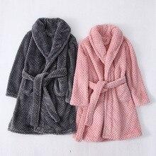 Fashionable 2019 Kids Bath Robes Winter Childrens Bathrobe Solid Color Flannel Bathgrowns for Big Boys Girls Soft  Belt Pyjamas