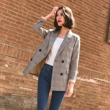 Fanco Notched Bouble Breasted Plaid Women Blazer Thicken Autumn Winter