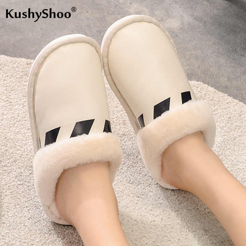 KushyShoo Slippers Women Winter Warm PU House Slippers Indoors Bedroom Non-slip Shoes Men Couple Slippers Fur Slides Woman